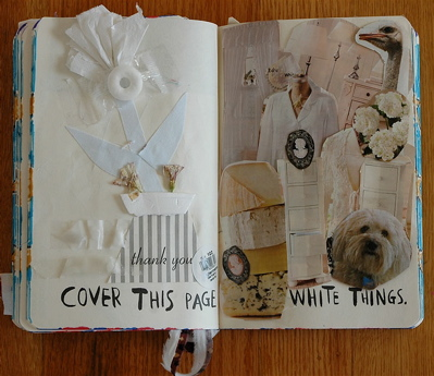 Improved white page. I like the flower pot collage on the left side.
