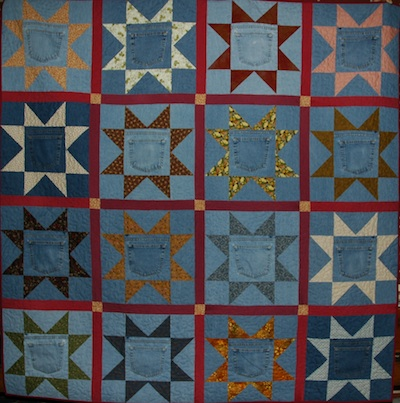 Recycled Blue Jeans Quilt — so you wannabee a Domestik Goddess?